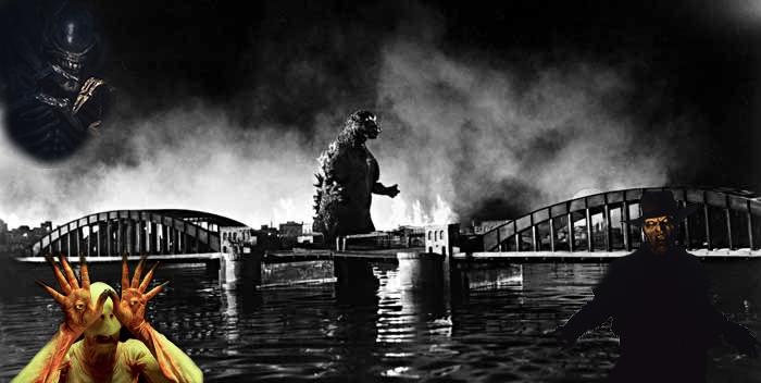 Monstruos mas terroríficos del cine del terror. Imagen con los monstruos: Godzilla, Alien, El creeper de Jeepers Creepers y el hombre palido de El laberinto del fauno.